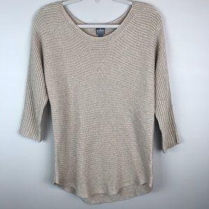 New York & Company sweater tan knit gold metallic